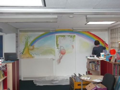The Mural is bright and colourful