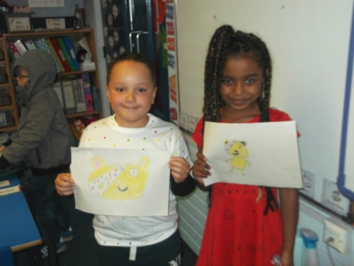Fabian and Sahara win the Children in Need drawing competition in Year 3