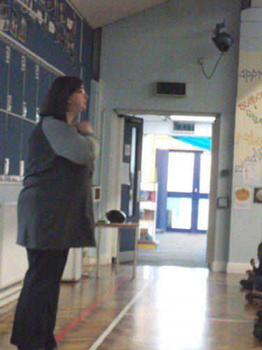 Mrs Maloney talking in assembly