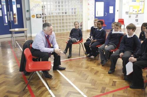 Steve McCabe has a discussion with the children