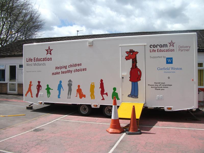 The health caravan advises children of healthier lifestyles