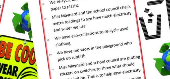Letter from Samuel in Y5 about sustainable school status