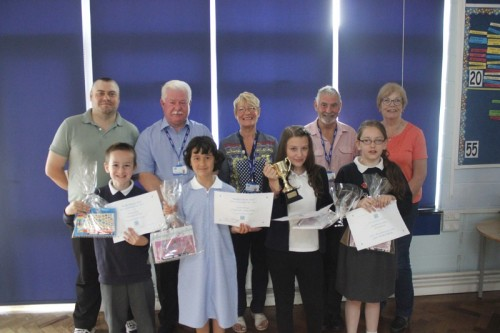Winner and runners up with some members of the school governors