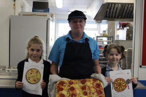 Pizza competition winners with Miss Davies