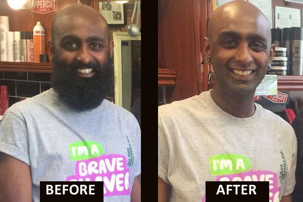 Mr Koeri has his beard shaven for charity