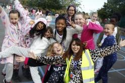Photos of Pyjama Day raising money for Macmillan Cancer