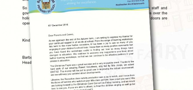 End of term letter from the Headteacher