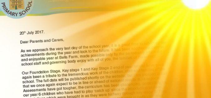 Headteacher's End of Year Letter